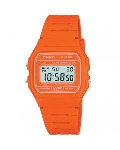 Casio LCD Orange Alarm-Chronograph Watch F-91WC-4A2EF