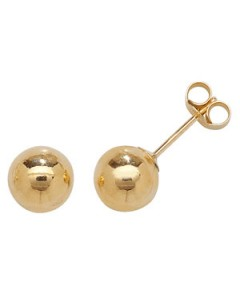 9ct Gold Plain Ball Stud Earrings NG2107