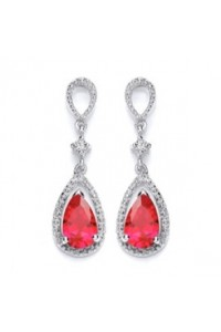 Purity 925 Sterling Silver Red & White CZ Drop Earrings P3700ED-1