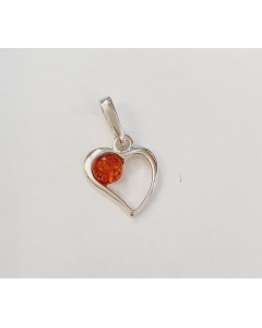 Sterling Silver Open Heart With Small Inner Amber Circle Pendant PP142