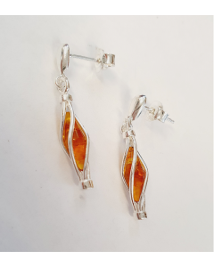 Sterling Silver Caged Amber Marquise Earrings PP147