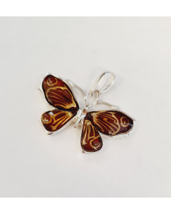 Sterling Silver Carved Amber Butterfly Pendant PP171