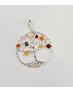 Sterling Silver Round Amber Tree Of Life Plain Surround Pendant PP97